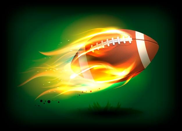 燃えるような炎のベクトルテンプレートでレースとステッチの古い古典的な革のラグビーボール
