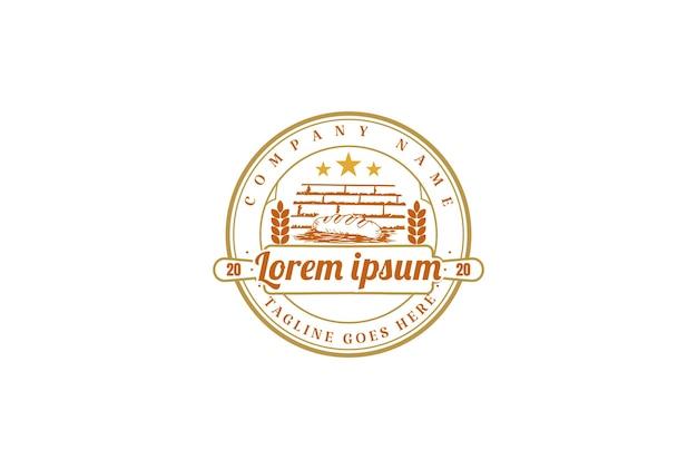 Old classic retro vintage bakery bake shop badge stamp emblem  label sticker logo design vector