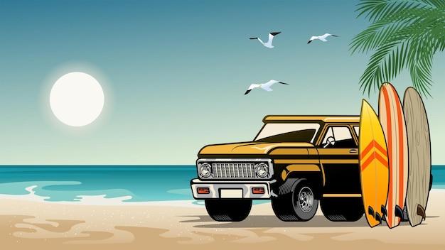 Old classic suv car on the surf beach