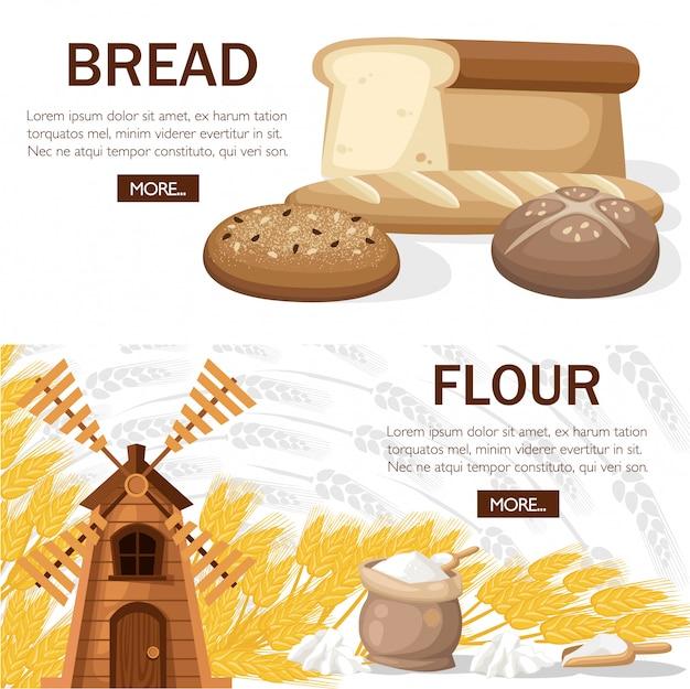 Старая классическая мельница с мешком муки. пшеничный хлеб, французский багет, чиабатта, тостовый хлеб. концептуальный дизайн пекарни. дизайн для сайта или рекламы