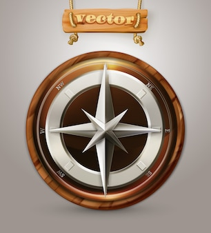 Old compass, 3d
