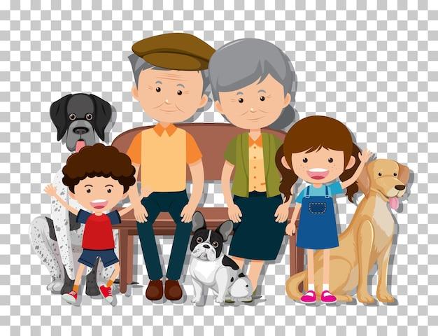 투명 한 배경에 고립 된 그들의 애완 동물 강아지와 함께 오래 된 부부와 손자