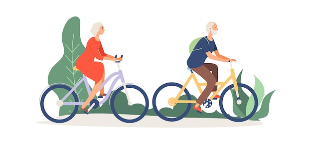 Old couple on bikes. elderly activity, grandmother grandfather in park or forest