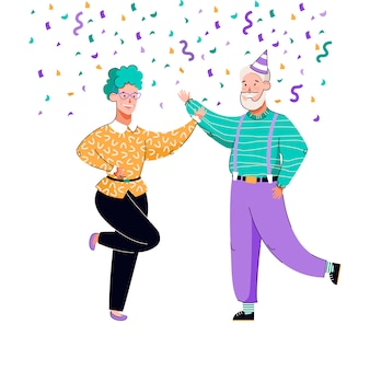 Old couple celebrating and dancing under colorful confetti