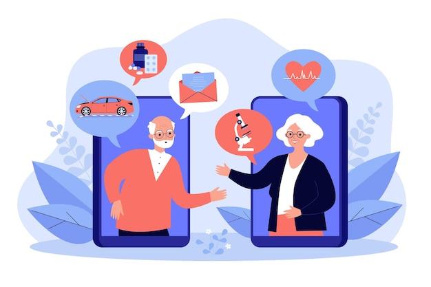 オンラインチャット、ニュースや健康イラストについて話し合う老夫婦