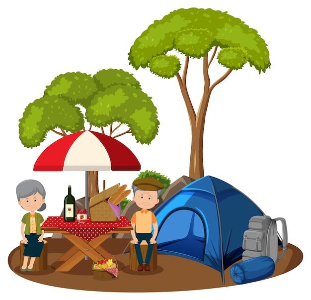 公園でピクニックをしている老夫婦