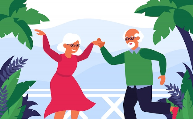 Old couple enjoying vacation and dancing