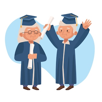 Old couple graduating active seniors characters
