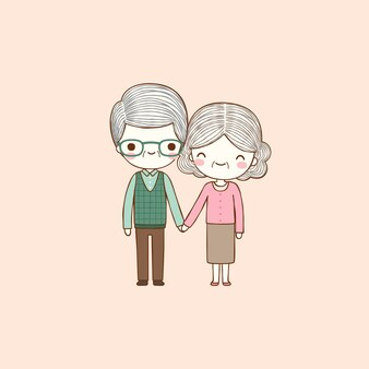 Old couple holding hands in flat style