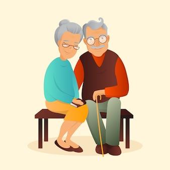 오래 된 커플 일러스트입니다. 할아버지와 할머니 귀여운 캐릭터.