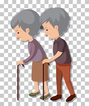 Старая пара в позе стоя, изолированные на прозрачном фоне