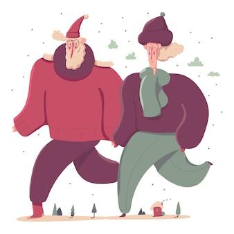 冬の服の漫画のキャラクターのイラストの老夫婦