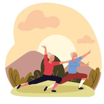 Old couple making yoga