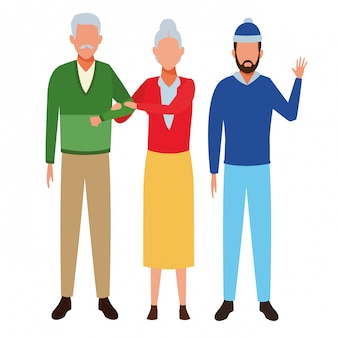 Old couple and man avatars