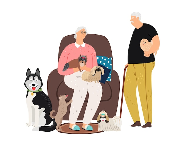 Old couple and pets. grandmother grandfather with different puppies