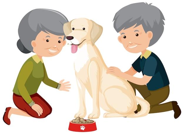 白地にかわいい犬と遊ぶ老夫婦
