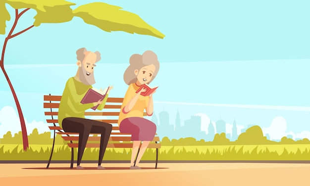 Old couple reading in park