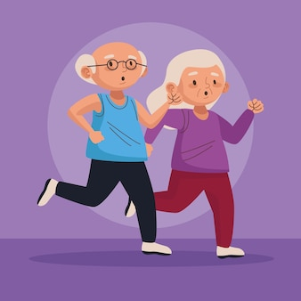 Old couple running active seniors characters