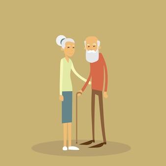 오래 된 커플 수석 남자 여자 지팡이로 서