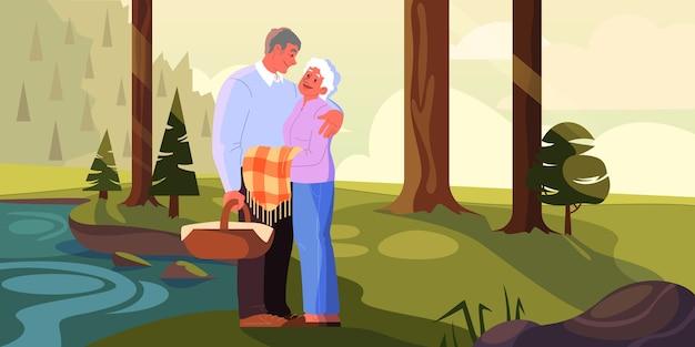 노부부는 함께 시간을 보냅니다. 은퇴에 여자와 남자. 행복 한 할아버지와 할머니는 공원에서 피크닉을 데. 삽화