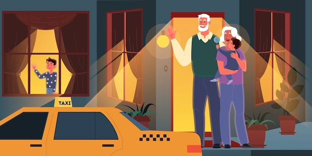 Old couple spend time with their grandchildren. woman and man on retirement. happy grandfather and grandmother with kids.  illustration
