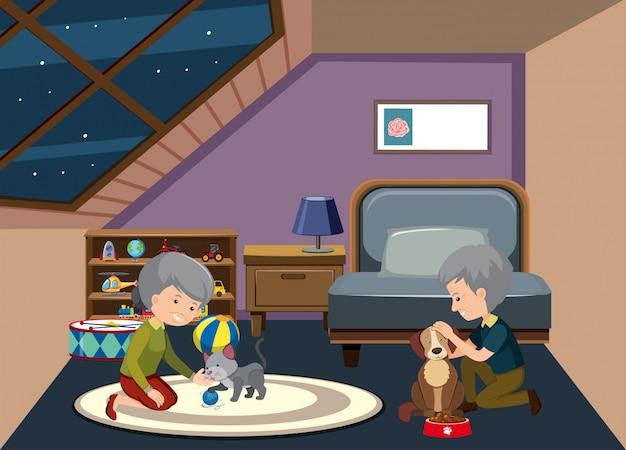 老夫婦の家に滞在