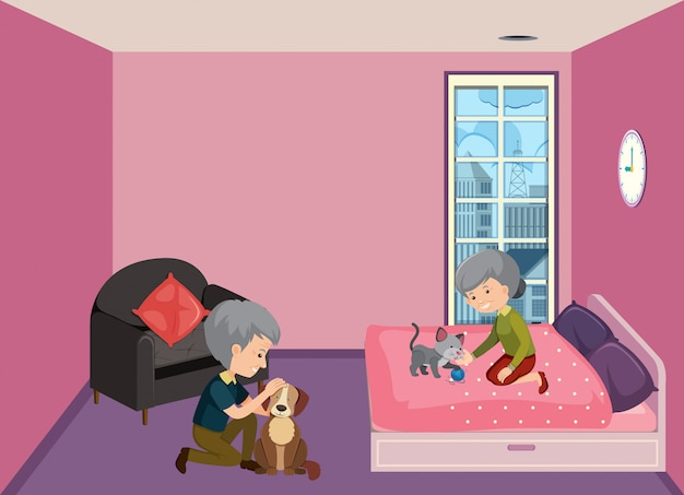 Old couple staying at home