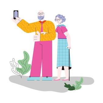 Старая пара вместе принимая селфи мобильный телефон векторные иллюстрации