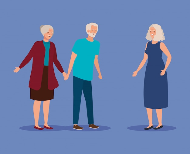 Old couple together with elderly woman