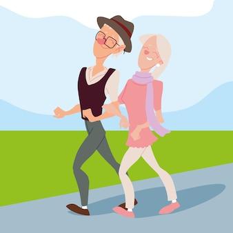 Старая пара гуляет в парке, дизайн активных пожилых людей