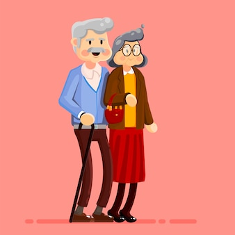 Old couple walk