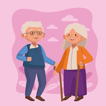 Old couple walking with canes active seniors characters scene