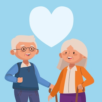 Old couple walking with canes and heart active seniors characters