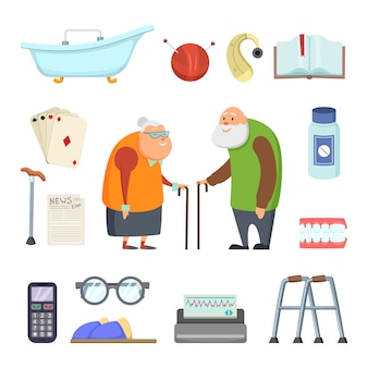 Old couple with assistants tools.