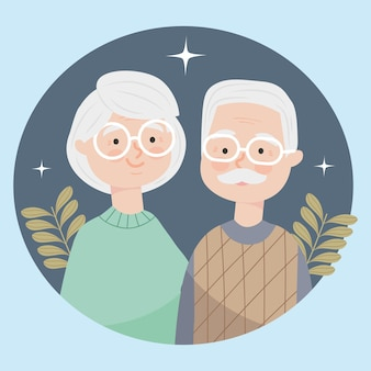 Old couple with decorative leaves