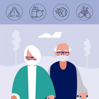 Old couple with icons of coronavirus protection and symptoms