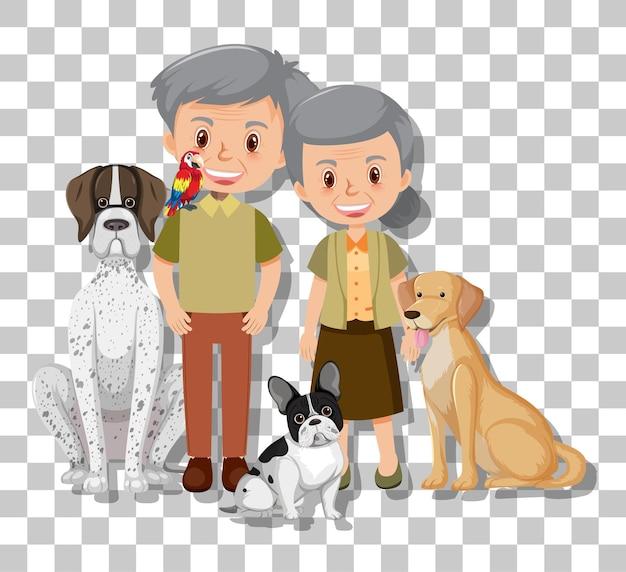 Старая пара со своими домашними собаками, изолированные на прозрачном фоне