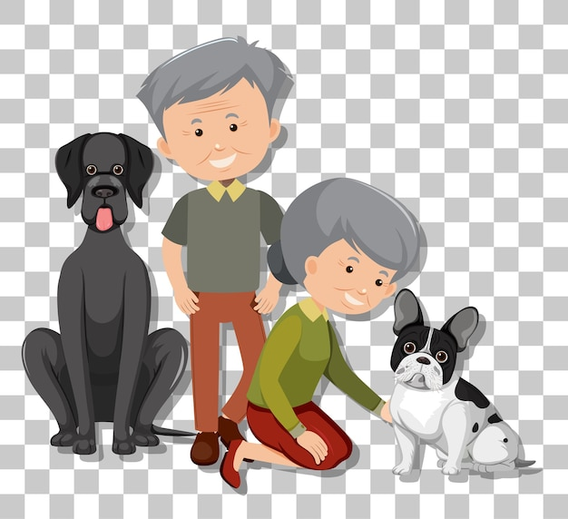 Old couple with their pet dogs isolated on transparent background