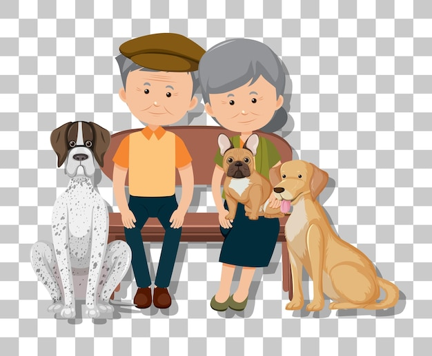 Old couple with their pet dogs isolated on transparent