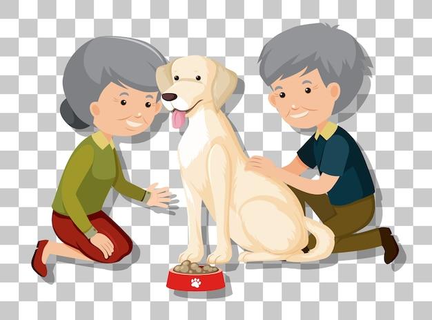 투명 한 배경에 고립 된 그들의 애완 동물과 함께 오래 된 커플