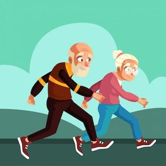 노부부는 아침에 몸매를 유지하기 위해 달리기를 즐깁니다.