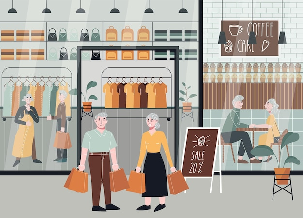 ショッピングセンターの老夫婦
