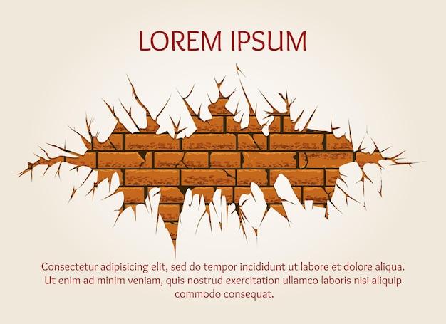 Vecchio muro di mattoni incrinato con testo di esempio.