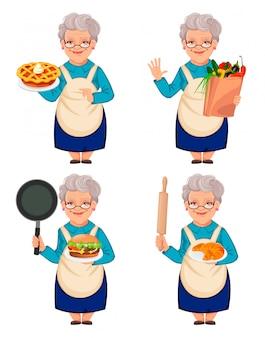 古いかわいい女性の祖母、4つのポーズのセット