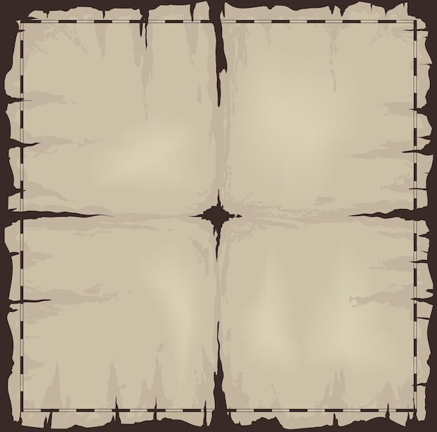 Old damaged dark sheet of paper or map