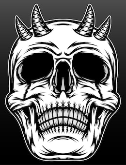Old demon skull with horn isolated on black