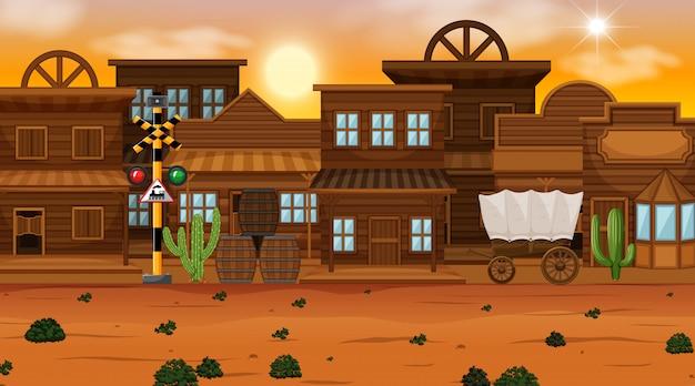 Old desert town scene