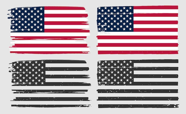Old dirty american flags