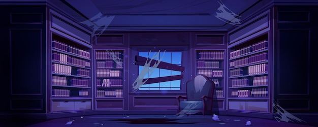 Старая грязная библиотека с книжными шкафами ночью
