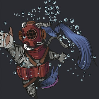Old diver suit with eel monster eating the diver on the deep sea